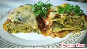 Рецепт из лаваша, с курицей, грибами и сыром. На ужин или на обед