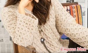 Стильный пуловер необычным рельефным узором с вытянутыми петлями. Видео МК.
