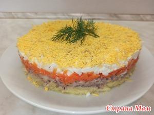 """Салат """"Мимоза"""" на любой праздничный стол. Популярный салат из СССР!"""