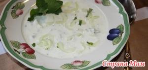 Холодный огуречный суп с мятой