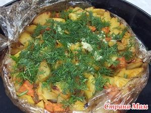 Вкуснейшая ленивая картошка в рукаве. Можно к постному столу